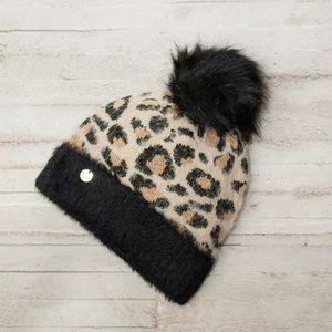 Price Firm NWT Express Faux Fur Pom Beanie-Leopard